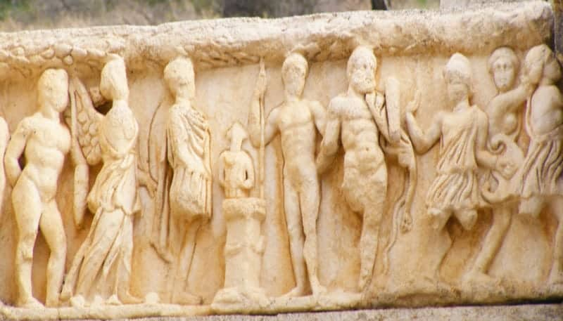 one of the friezes on the many buildings walking the marble road of ephesus