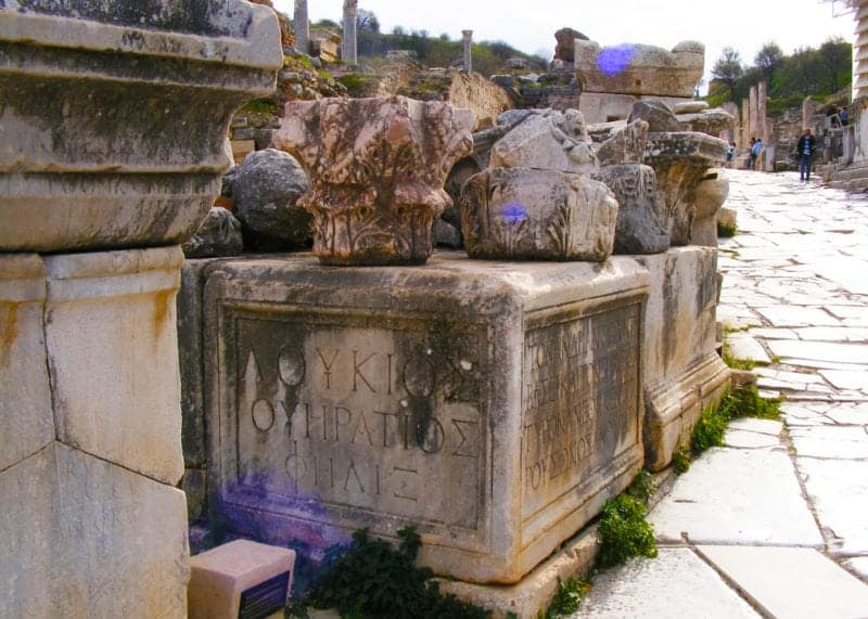tombs on the white marble road of ephesus