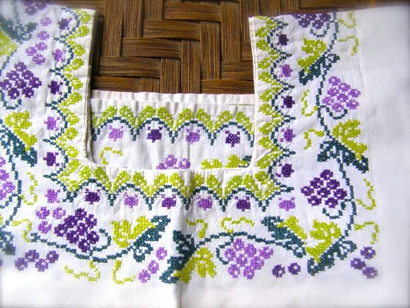 traditional cross stitch used on a Mexican embroidered dresses
