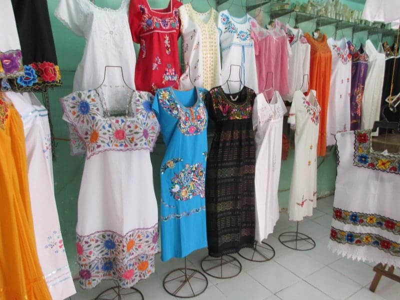 Embroidered Mexican Dresses in the Lucas Galvez Market