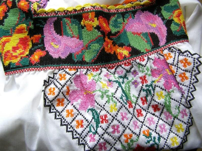 intricate cross stitch taught by the nuns in the Yucatan