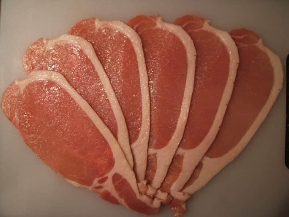 Irish rashers or bacon