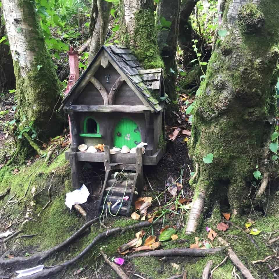 a tiny fairy house in a fairy garden in Ireland - finding fairy forts in Ireland is an easy task