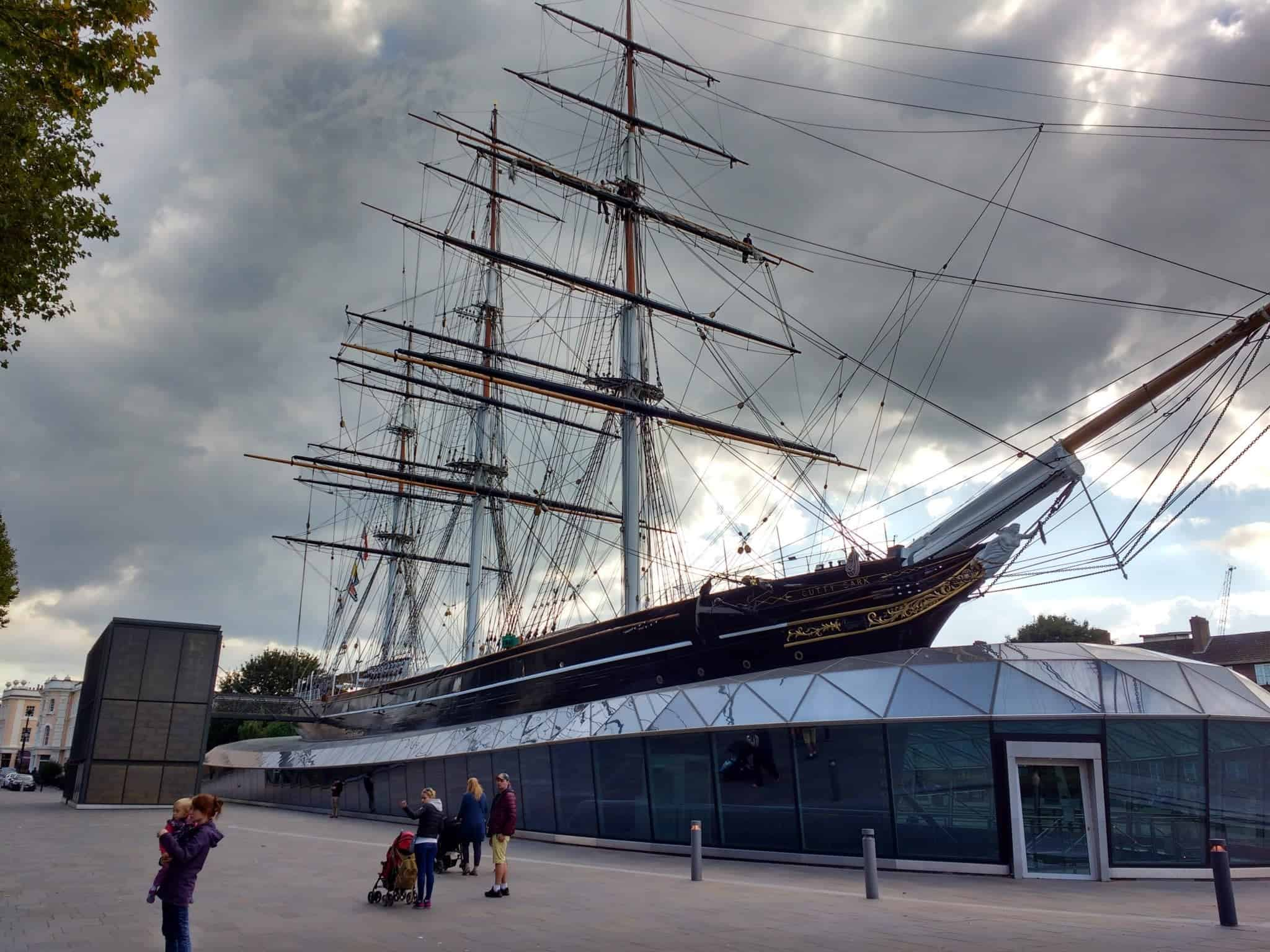 the awesome Cutty Sark ship on the Greenwich pier