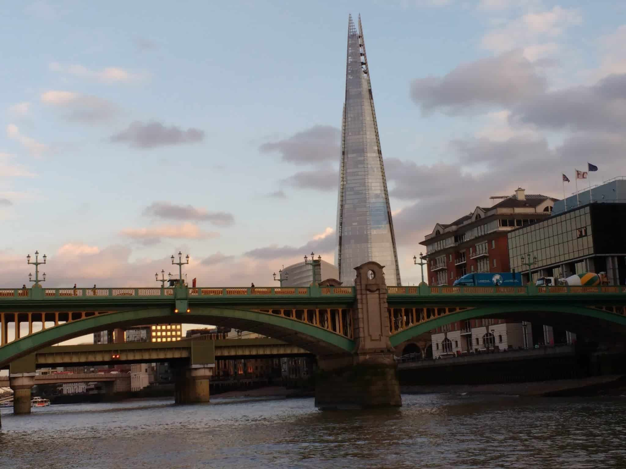 view of the shard from the River Thames