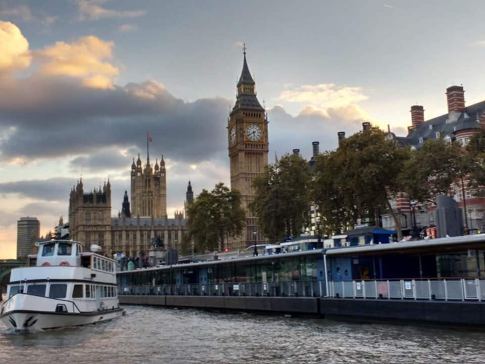 a river cruise view of Big Ben and the Houses of parliament from the London Eye