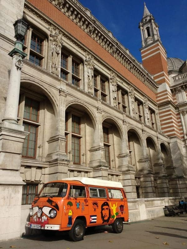 a VW bus from the 60's on display at the V&A in South Kensington