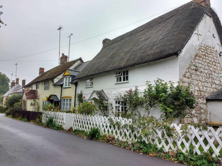the village of Avebury near the henge with its thatched roof cottages