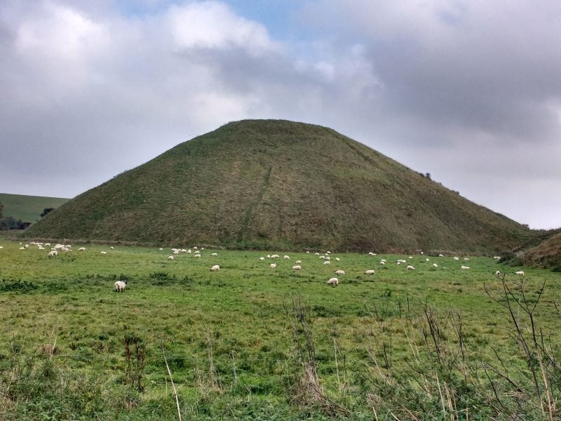 Silbury Hill near the site of the AVebury Henge