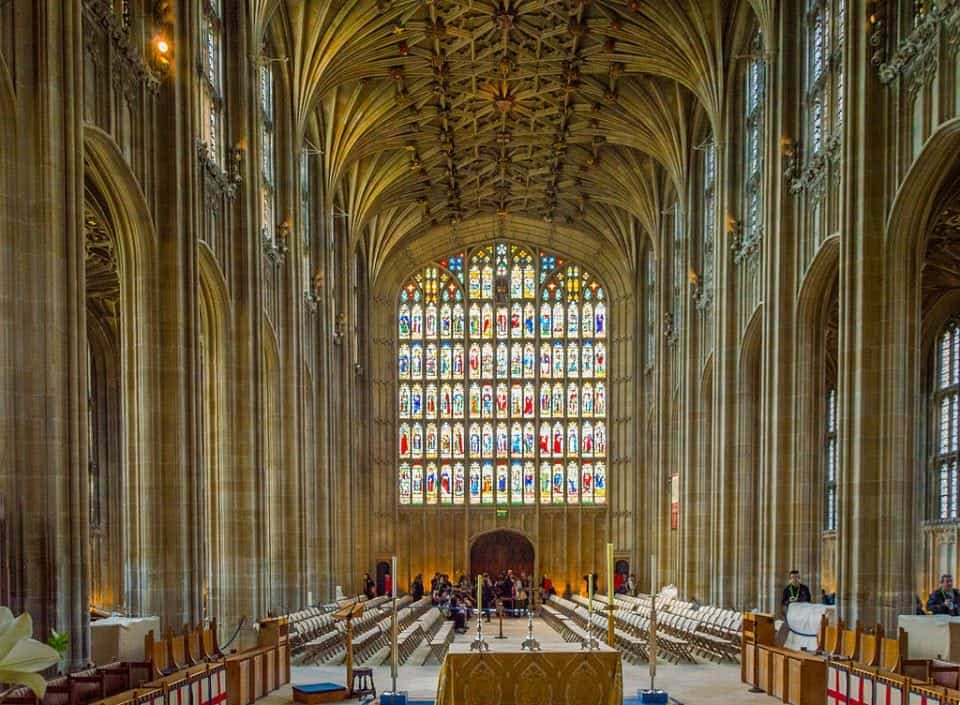 beautiful stained glass and fancy ceilings of St. George's Chapel Windsor