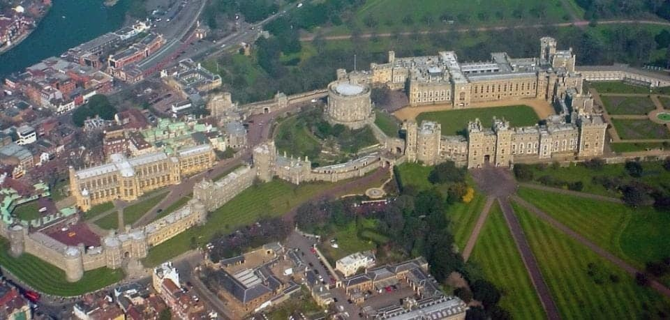 view of Windsor Castle from drone