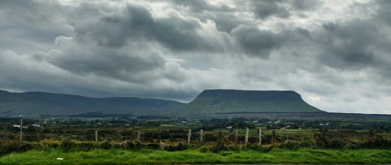 a view of Benbulben in Sligo from Yeats Grave