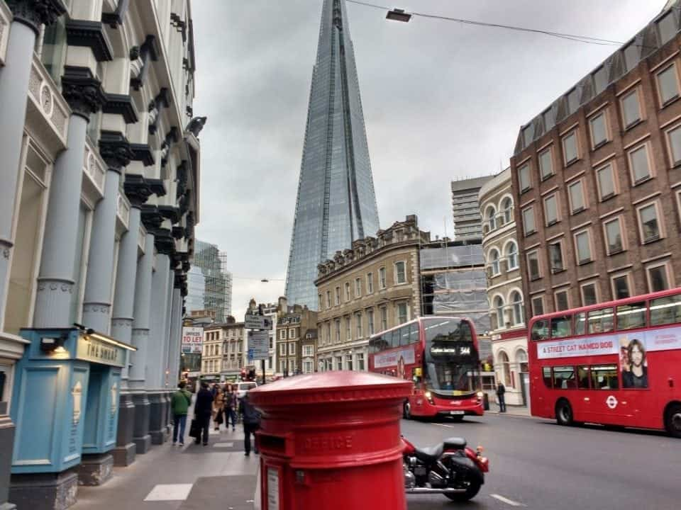 view of the Shard from Borough Market bus stop