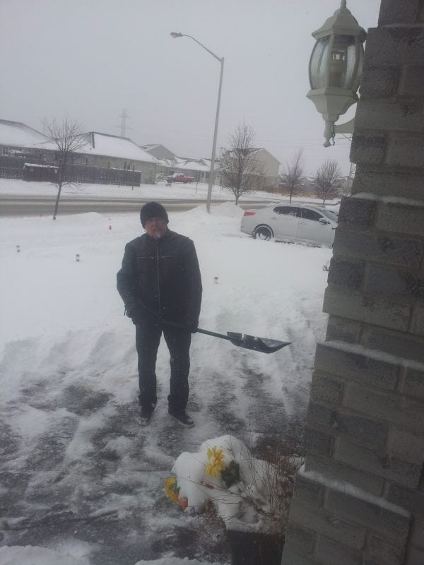 House sitting boomers and here is Alan shoveling snow in a cold and miserable Canada
