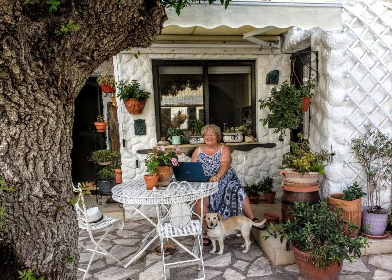 My office in Cyprus with Boika - house sitting boomers at work
