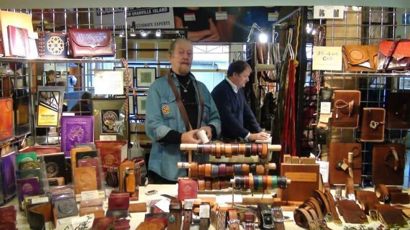 a leather stall in Granville Island