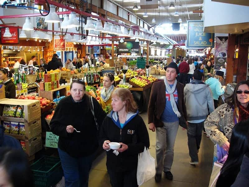 view of some of the stalls within the Granville Island Market