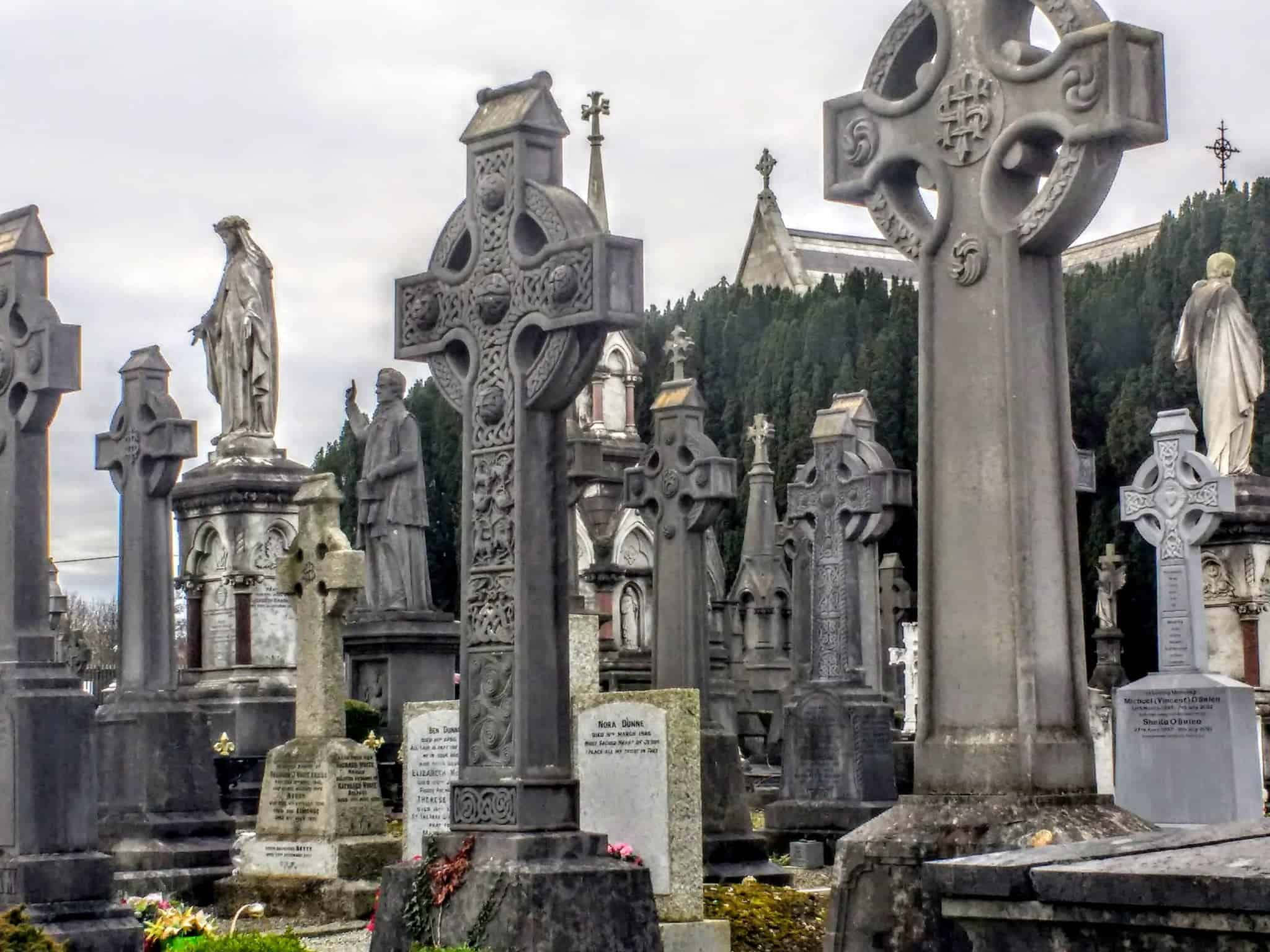 Dublin's Glasnevin Cemetery and Museumceltic crosses marking the graves
