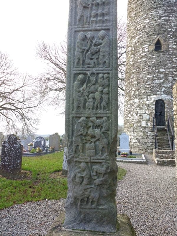 close up of the carvings on the high cross at Monasterboice & Kells