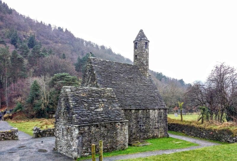 St. Kevins church with stone roof at Glendalough Ireland