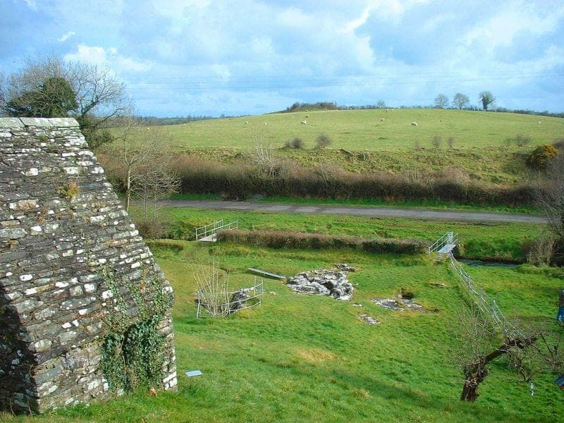A view of the holy well and Ogham stone in country meath