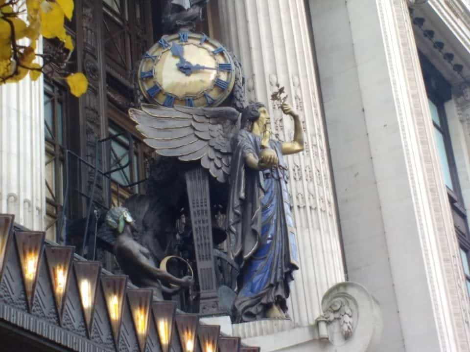 Selfridges the statues above the entry