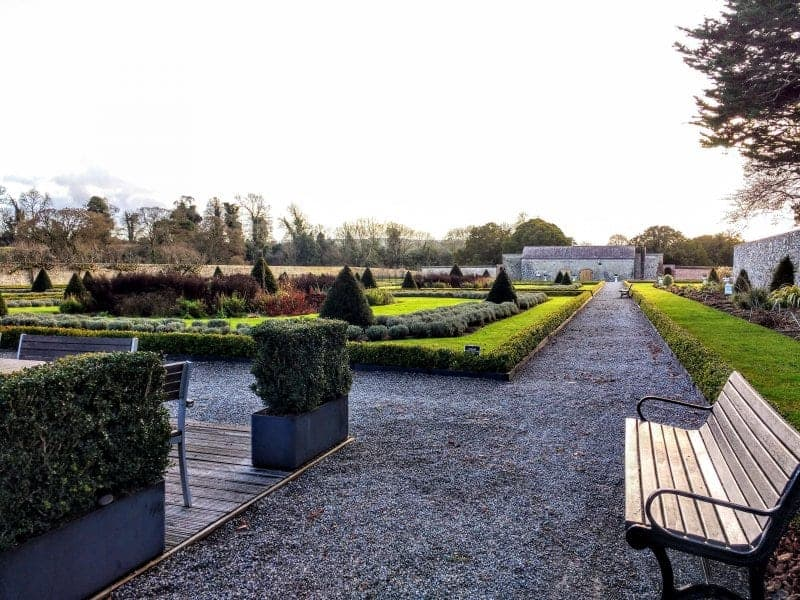 The gardens at the Boyne River site an easy day trip from Dublin
