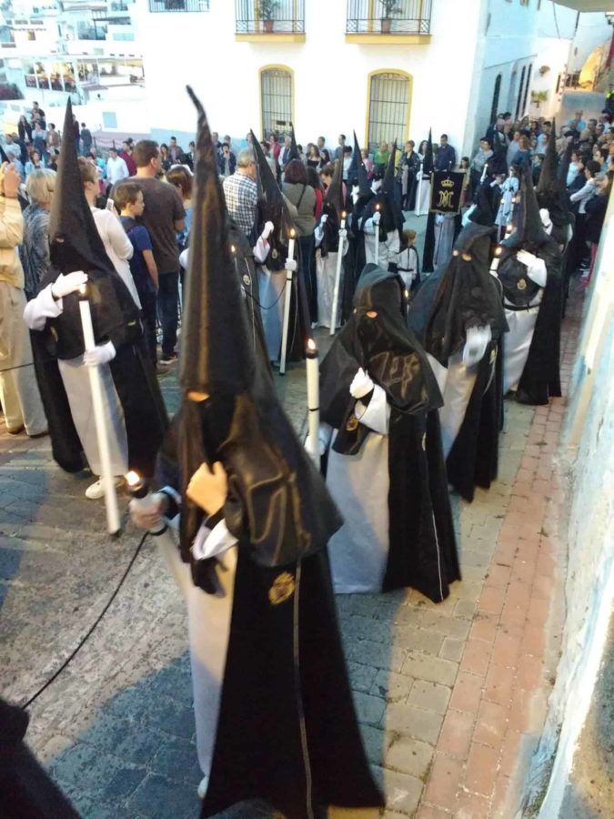 crowds celebrating Semana Santa in Salobrena Spain