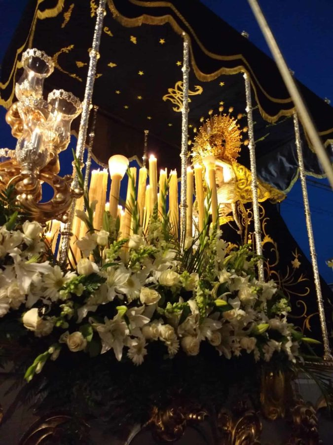 beautiful tronos or float of the Virgin Mary Semana Santa Spain