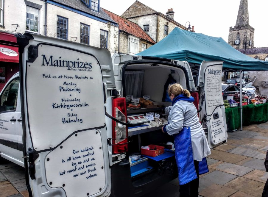 fish van in the Yorkshire market town of Pickering