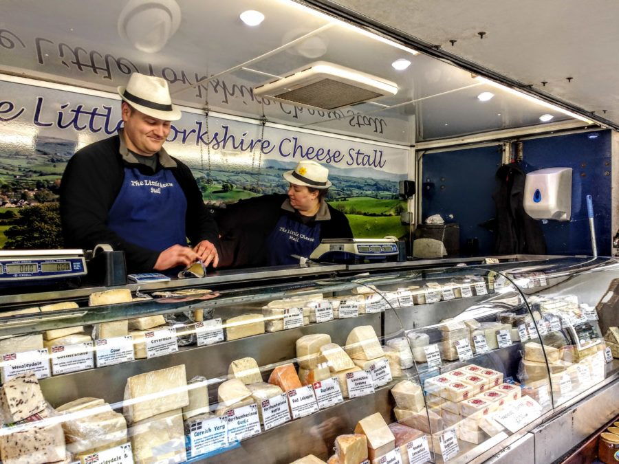 Yorkshire cheese for sale in a Yorkshire market town