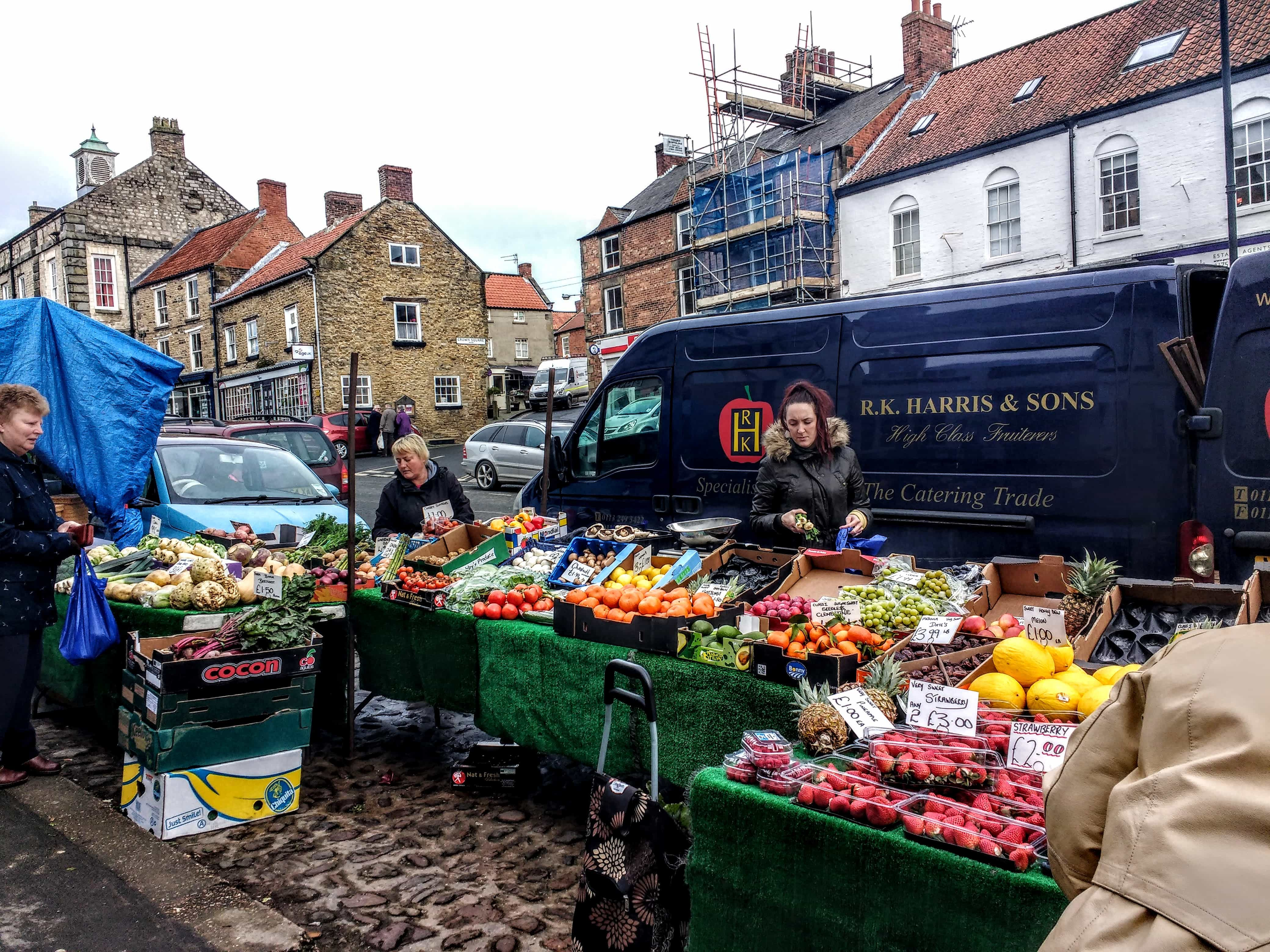 Yorkshire market town VAN SELLING FRUIT AND VEG IN Yorkshire