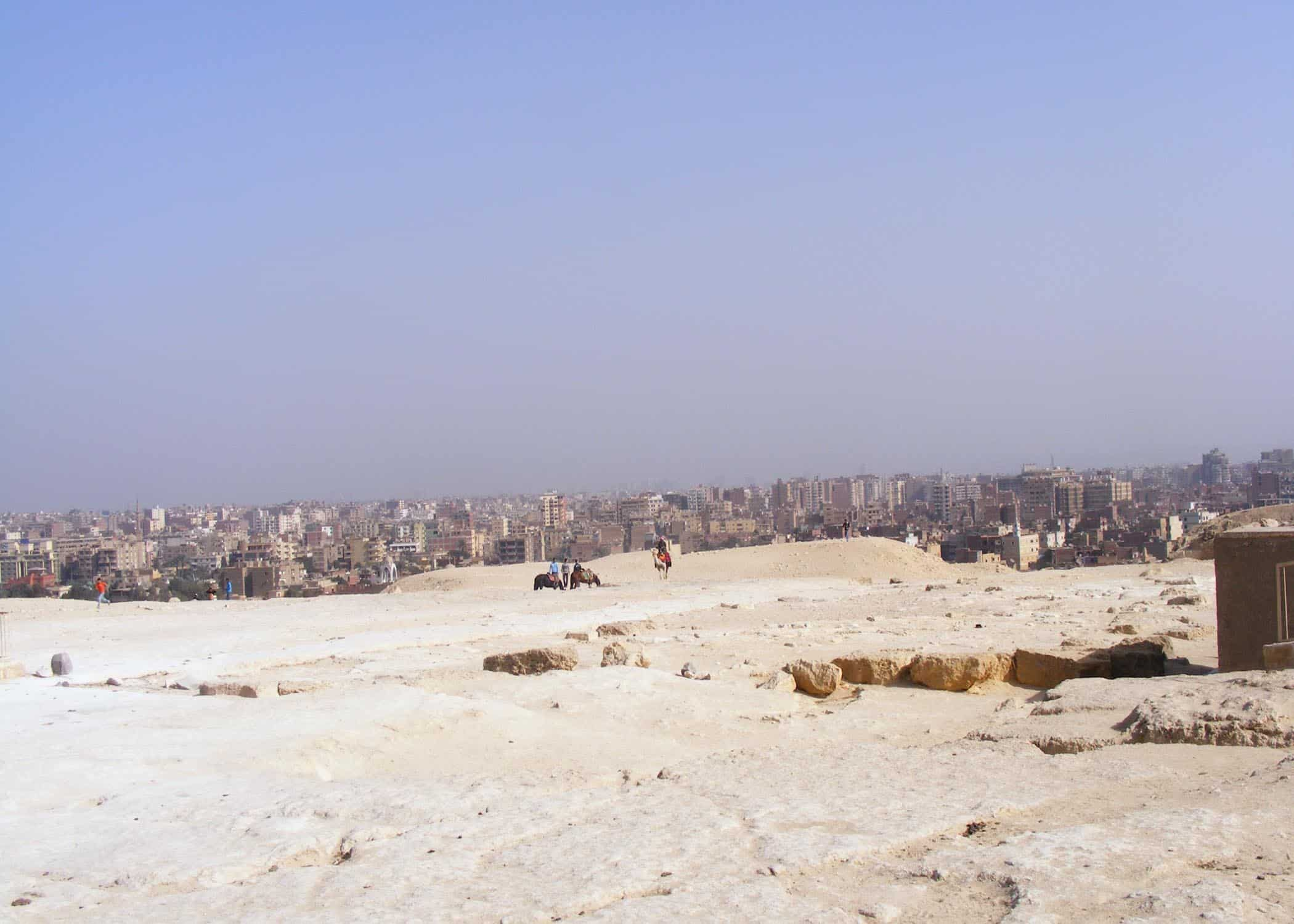 a view of Cairo from the pyramids of Giza