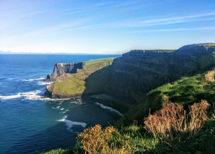 beautiful distance shot of the Cliffs of Moher