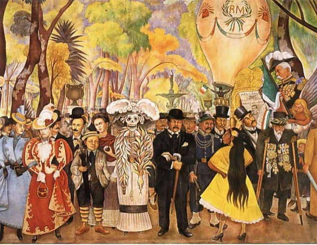 La Calavera Catrina is derived from Diego Rivera's work Dream of a Sunday afternoon along Central Alameda.