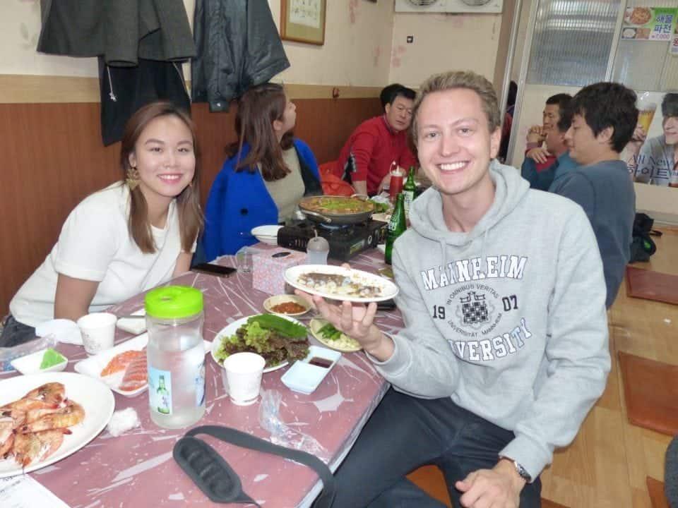 eating live octopus in Korea