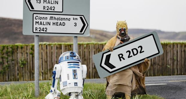 photo of R2D2 and C3Pio at the newly named R2D2 road in Ireland