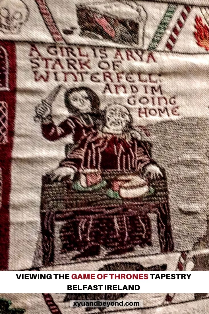 Game of Thrones Tapestry in BElfast A girl is Arya panel