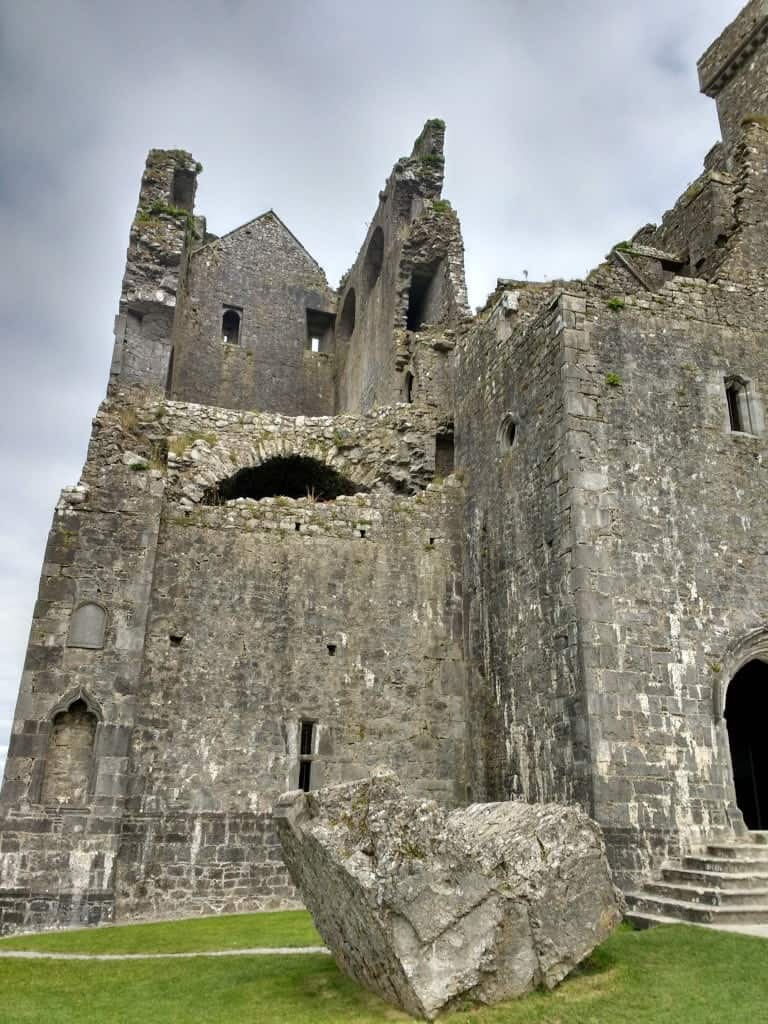 the entry to the Rock of Cashel the ruined church and its towers