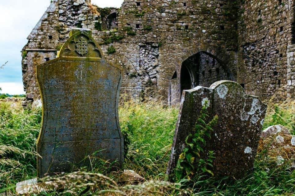 gravestones at Hore Abbey which is across the road from the Rock of Cashel