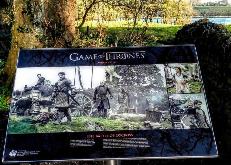 Audley's castle and field and the HBO Game of Thrones sign. This area played home to Walder Frey and the Red Wedding although the castle is is ruins it was CGI'ed to look whole