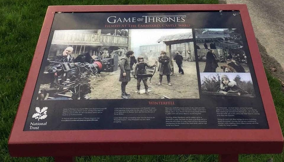 HBO's Castle Ward sign with photographs of the set of Winterfell