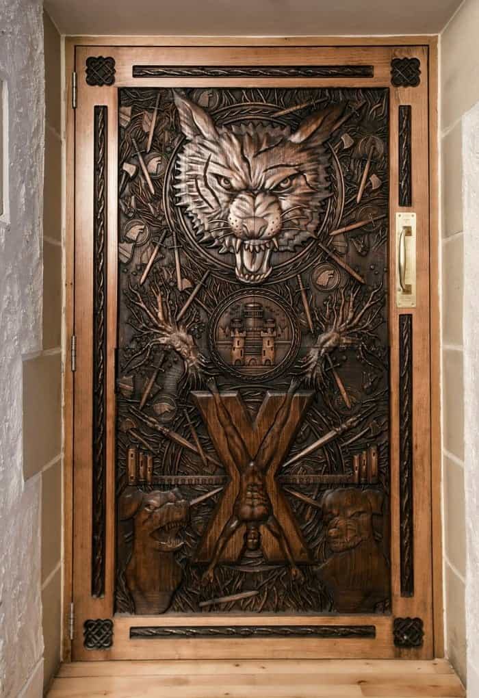 Game of Thrones door from the Dark Hedges in the Balleygalley Castle Hotel N. Ireland