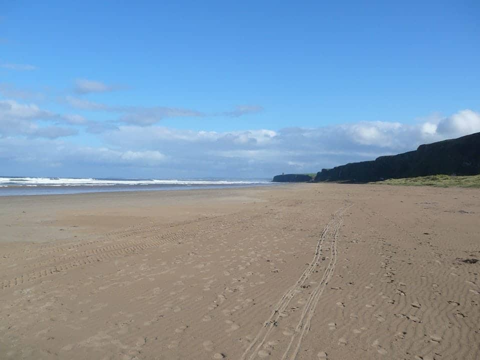 a beautiful beach called Downhill strand on the Causeway Coast of Ireland