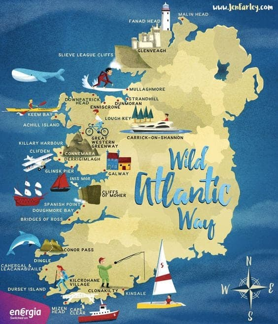 illustrated map of the Wild Atlantic Way route by Jen Farley