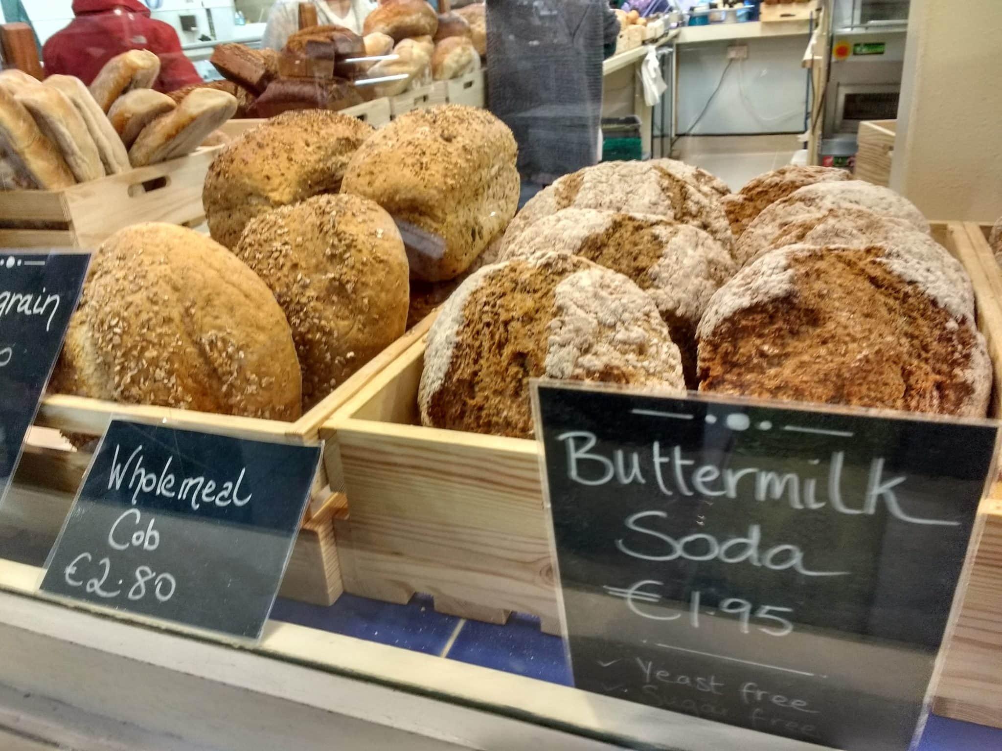 Irish foods shot of soda breads in market