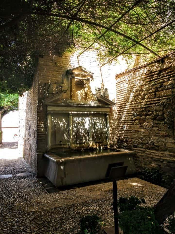 outdoor fountains in the Generallife Gardens Alhambra Granada Spain