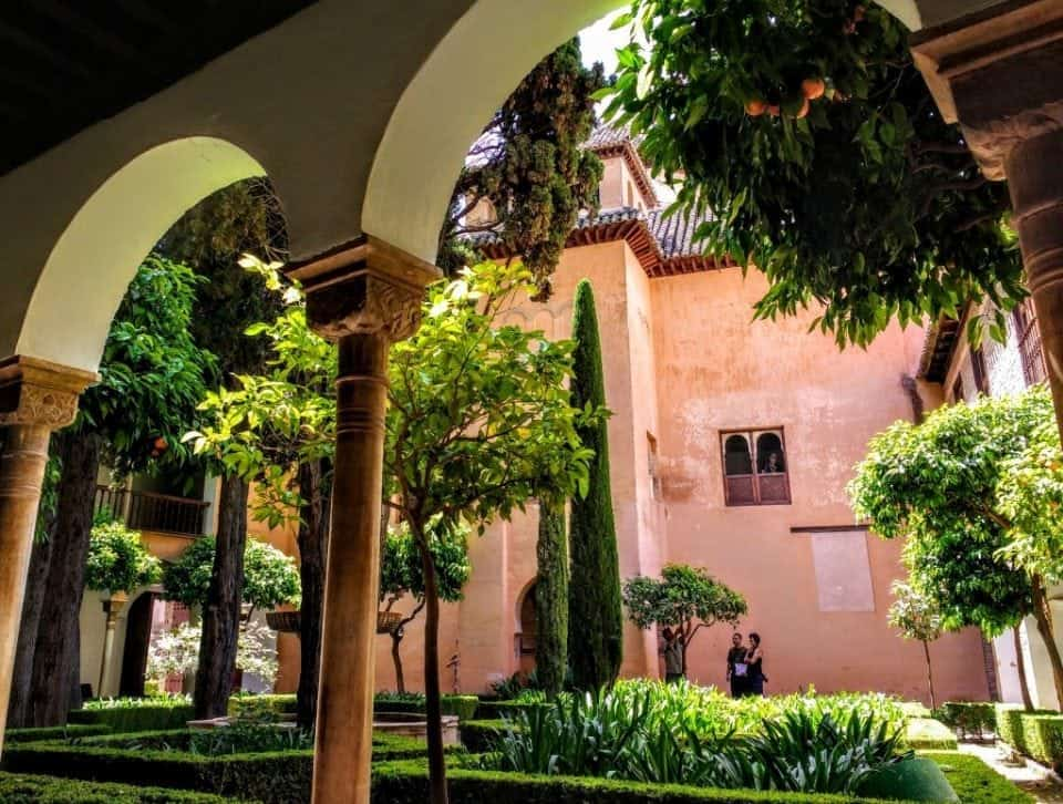 courtyard and orange trees within the Alhambra Palaces