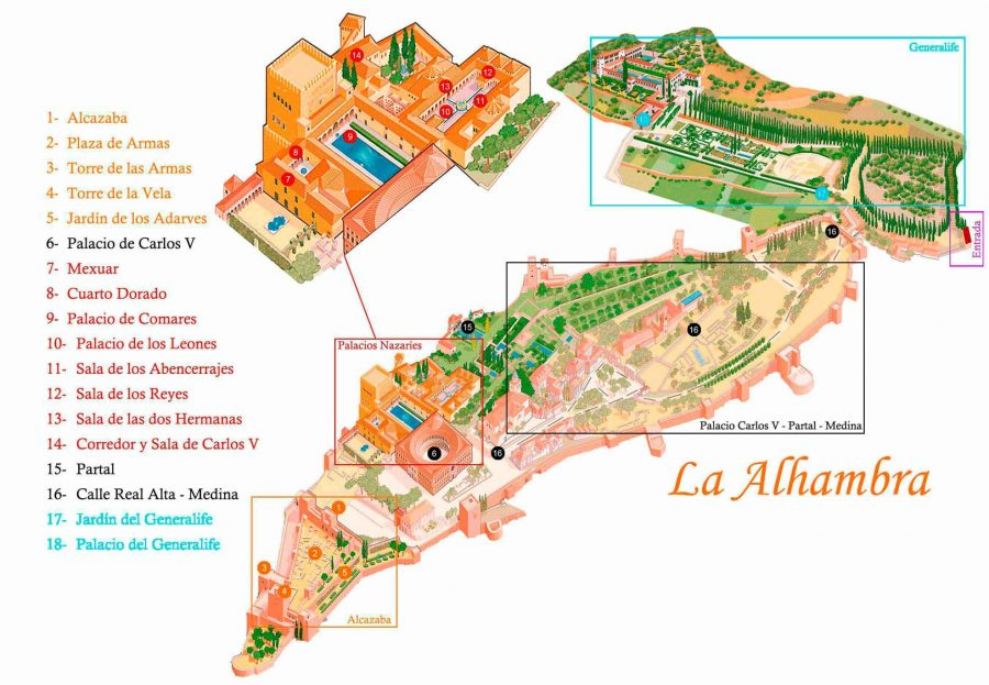 Map of the Alhambra Palaces