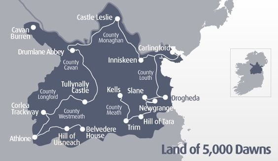 Map of the Land of 5000 dawns day trips from Dublin to the North east corner of Ireland